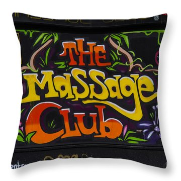 The Massage Club Throw Pillow by Brian Roscorla