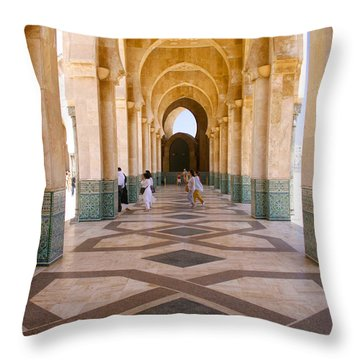 Throw Pillow featuring the photograph The Massive Colonnades At The Hassan II Mosque Sour Jdid Casablanca Morocco by Ralph A  Ledergerber-Photography