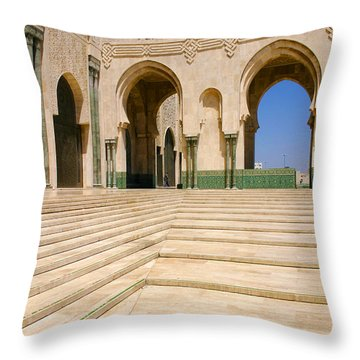 Throw Pillow featuring the photograph The Massive Colonnades Leading To The Hassan II Mosque Sour Jdid Casablanca Morocco by Ralph A  Ledergerber-Photography