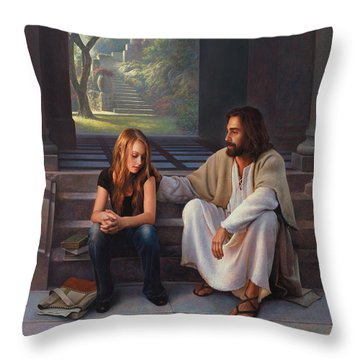 Throw Pillow featuring the painting The Master's Touch by Greg Olsen