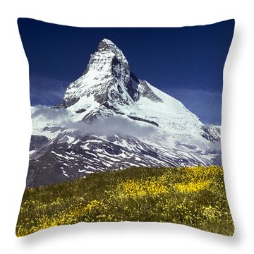 The Matterhorn With Alpine Meadow In Foreground Throw Pillow