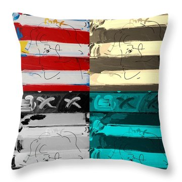 The Max Face In Quad Colors Throw Pillow by Rob Hans