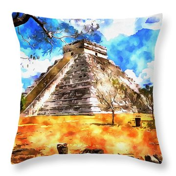 Throw Pillow featuring the painting The Mayan Temple by Mario Carini