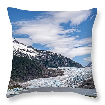The Mendenhall Glacier On A Blue Sky Day Throw Pillow