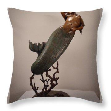 The Mermaid Throw Pillow by Lisbeth Sabol