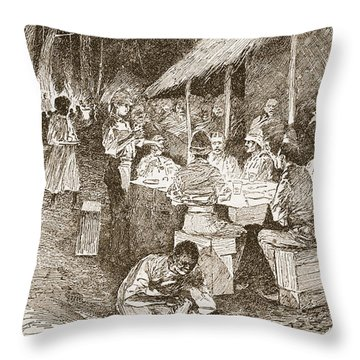 The Mess Table In The Forest Throw Pillow by Henry Charles Seppings Wright