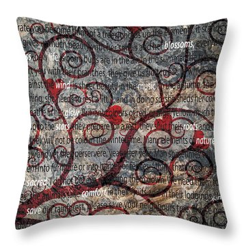 The Message Tree Throw Pillow by Kim Prowse
