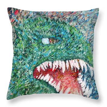 The Might That Came Upon The Earth To Bless - Godzilla Portrait Throw Pillow by Fabrizio Cassetta