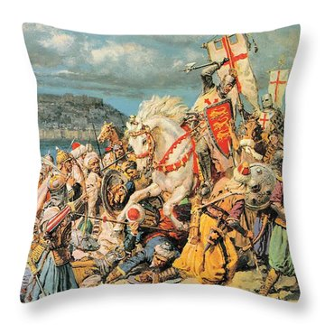 The Mighty King Of Chivalry Richard The Lionheart Throw Pillow