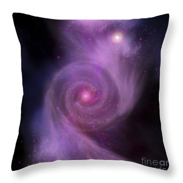 The Milky Way Galaxy And Andromeda Throw Pillow