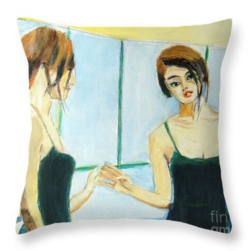 The Mirror Has Two Faces Throw Pillow by Judy Kay