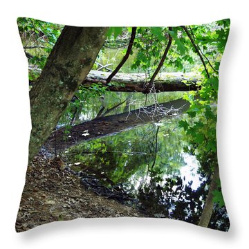 Throw Pillow featuring the photograph The Mirrored Tree by Deborah Fay