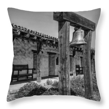 The Mission Bell B/w Throw Pillow by Hanny Heim