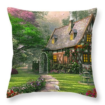 The Misty Lane Cottage Throw Pillow