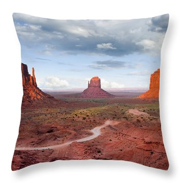 The Mittens And Merrick Butte At Sunset Throw Pillow by Jeff Goulden