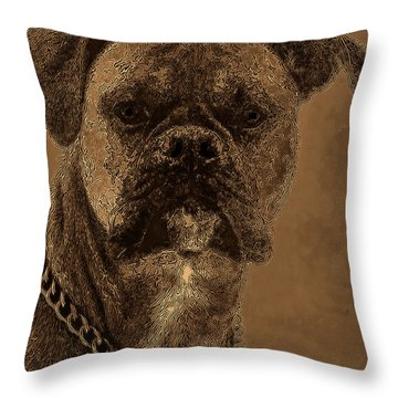 The Modern Boxer Bulldog Throw Pillow by Lesa Fine
