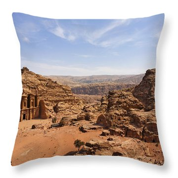 The Monastery And Landscape At Petra In Jordan Throw Pillow by Robert Preston