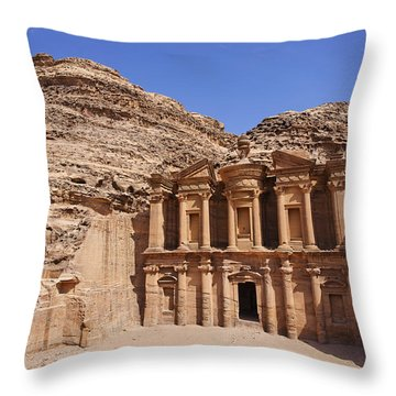 The Monastery At Petra Throw Pillow by Robert Preston