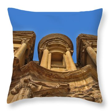 Throw Pillow featuring the photograph The Monastery In Petra by David Gleeson