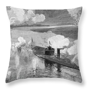 The Monitor Montauk Destroying The Confederate Privateer Nashville Near Fort Mcallister, Ogeechee Throw Pillow