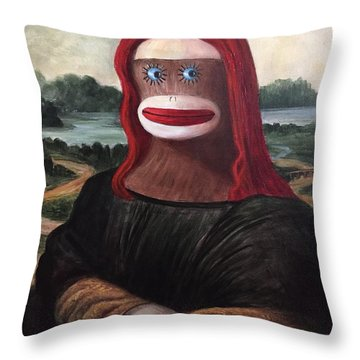 Throw Pillow featuring the painting The Monkey Lisa by Randol Burns