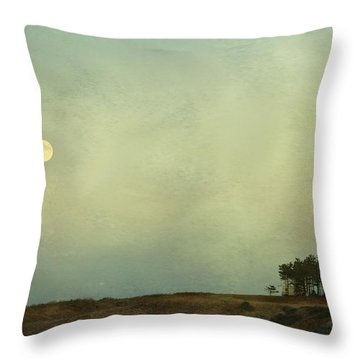 The Moon Above The Trees Throw Pillow