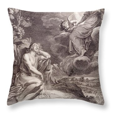 The Moon And Endymion Throw Pillow by Bernard Picart