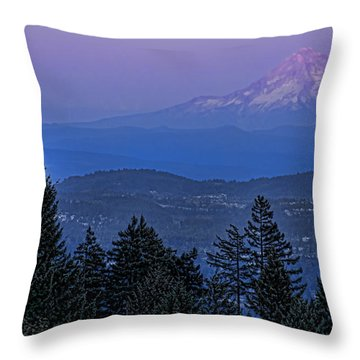 The Moon Beside Mt. Hood Throw Pillow by Don Schwartz