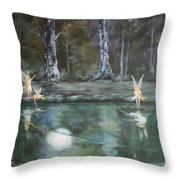 The Moon Fairies Throw Pillow