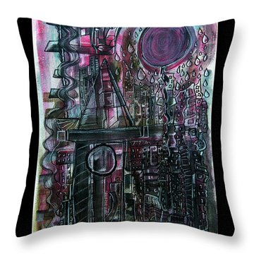 The Moon Is A Red Balloon When It Rains Throw Pillow by Mimulux patricia no No