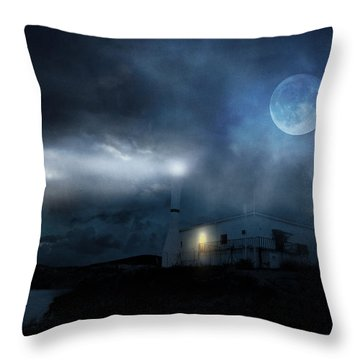 The Moon Touches Your Shoulder Throw Pillow by Taylan Apukovska