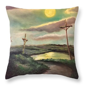 Throw Pillow featuring the painting The Moon With Three Crosses by Randol Burns