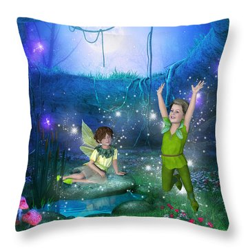 Throw Pillow featuring the digital art The Moonlight Fairies by Jayne Wilson