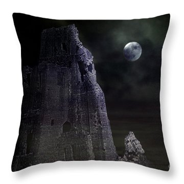 The Moonshine On The Castle Throw Pillow by Terri Waters