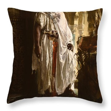 Throw Pillow featuring the painting The Moorish Chief by Eduard Charlemont