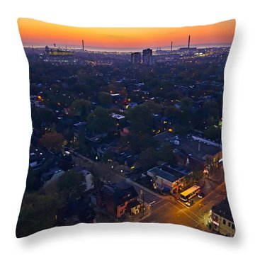 The Morning Bus Throw Pillow by Keith Armstrong