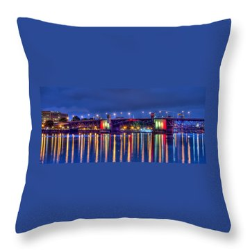 Throw Pillow featuring the photograph Morrison Bridge Reflections by Thom Zehrfeld
