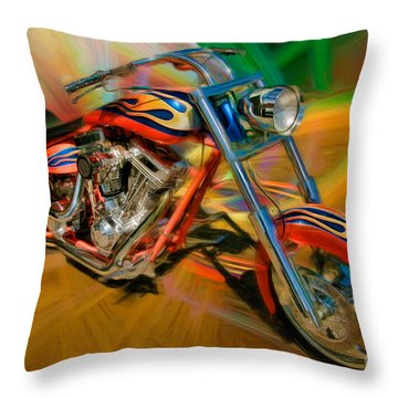The Motorcyclerow Throw Pillow by Blake Richards