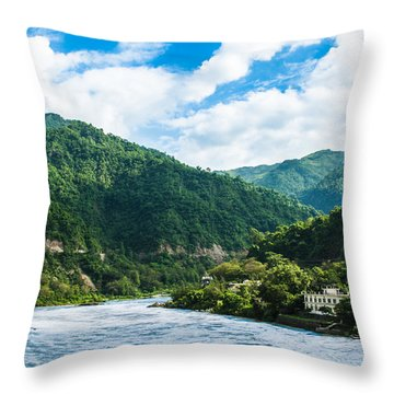 The Mountain Valley Of Rishikesh Throw Pillow
