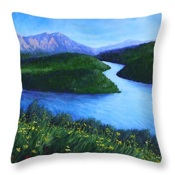 Throw Pillow featuring the painting The Mountains Beyond by Penny Birch-Williams