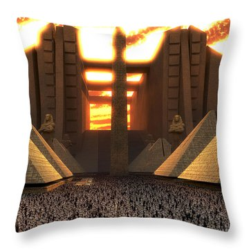The Multitude Gathered Throw Pillow