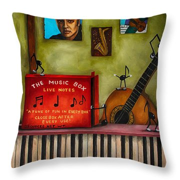 The Music Box Edit 3 Throw Pillow by Leah Saulnier The Painting Maniac
