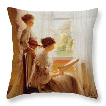 The Music Lesson, C.1890 Throw Pillow by American School