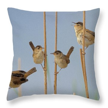 The Music Of The Marsh Wrens  Throw Pillow by Constantine Gregory