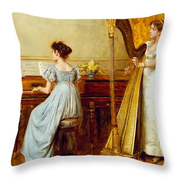 The Music Room Throw Pillow by George Goodwin Kilburne