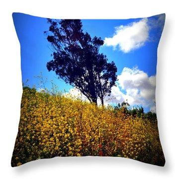 The Mustard Hillside Throw Pillow by Lisa Holland-Gillem