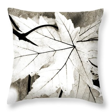 The Mysterious Leaf Abstract Bw Throw Pillow by Andee Design