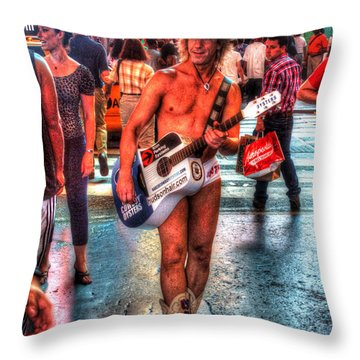 The Naked Cowboy 001 Throw Pillow
