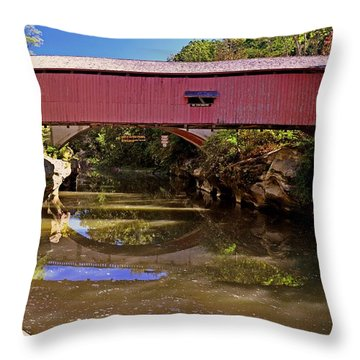 The Narrows Covered Bridge 1 Throw Pillow by Marty Koch