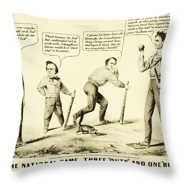 The National Game - Abraham Lincoln Plays Baseball Throw Pillow by Bill Cannon